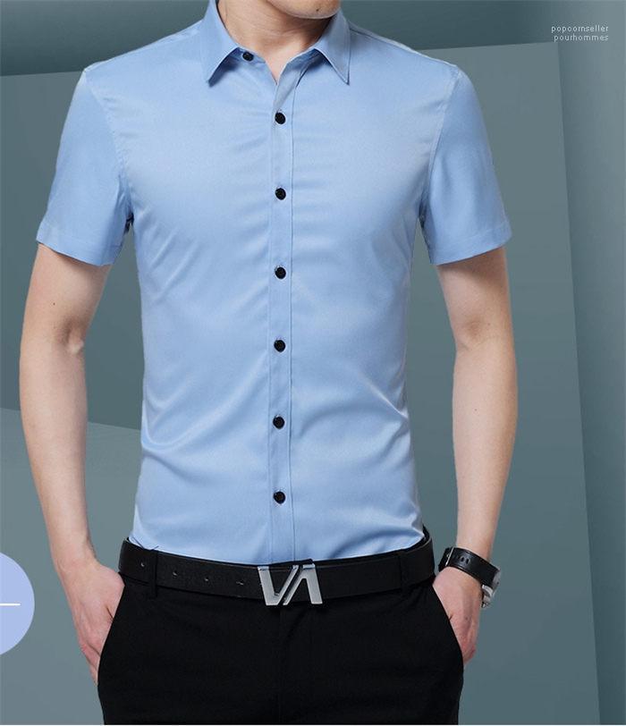 La moda de Nueva Hombre Ropa sólidas de vestir para hombre camisas gira el collar abajo para hombre de la manga corta camisas jóvenes