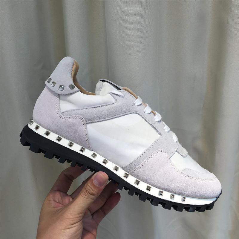 Lüks Tasarımcı Kaya Stud Sneaker Ayakkabı Yüksek Kalite Bayan, Erkek Ayakkabı Kaya Runner Trainer Parti Düğün Ayakkabı 36-46L05