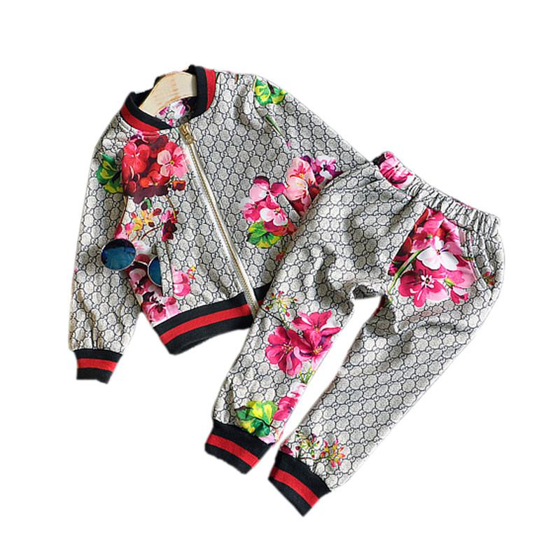 free shipping brand tags kids clothes boy girl jacket Pants Two-piece set floral tops chidlren boys girls Coat + Trousers outerwear clothing