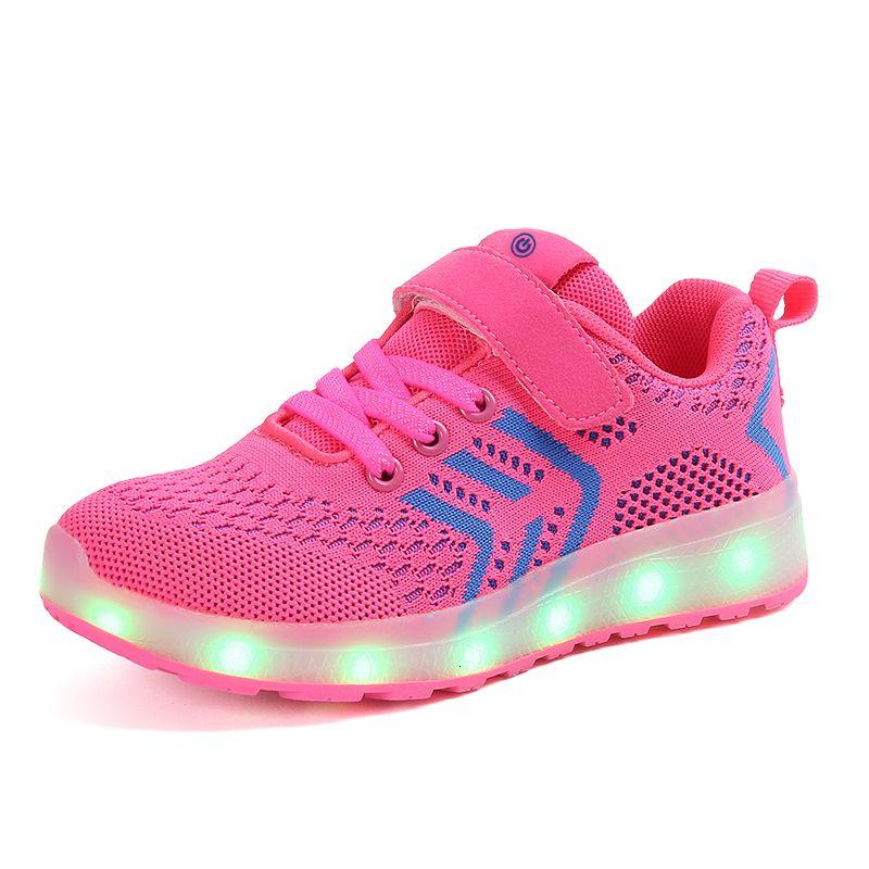 Дышащие 2018. Новый 25-37 USB зарядное устройство Светящиеся кроссовки водить детей Освещение Обувь Мальчики / Девочки освещен Luminous Sneaker PinkMX190919