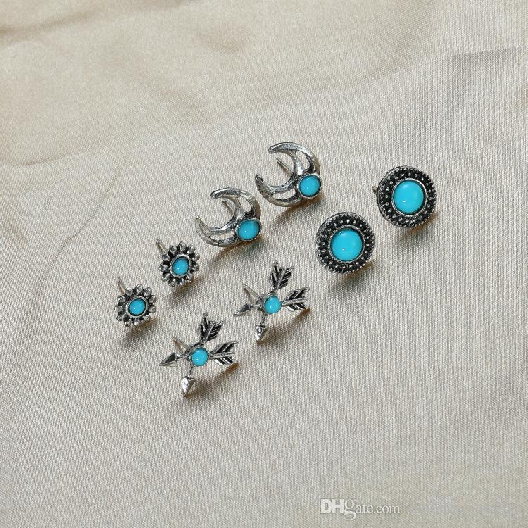 Europäische und amerikanische grenzüberschreitenden Retro- vier Stück weibliche Geometrie Ochsenhorn sichel Pfeil Runde Turquoise Licht reife Ohrringe