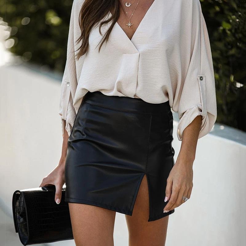 Women Sexy PU Bodycon High Waist Mini Skirt