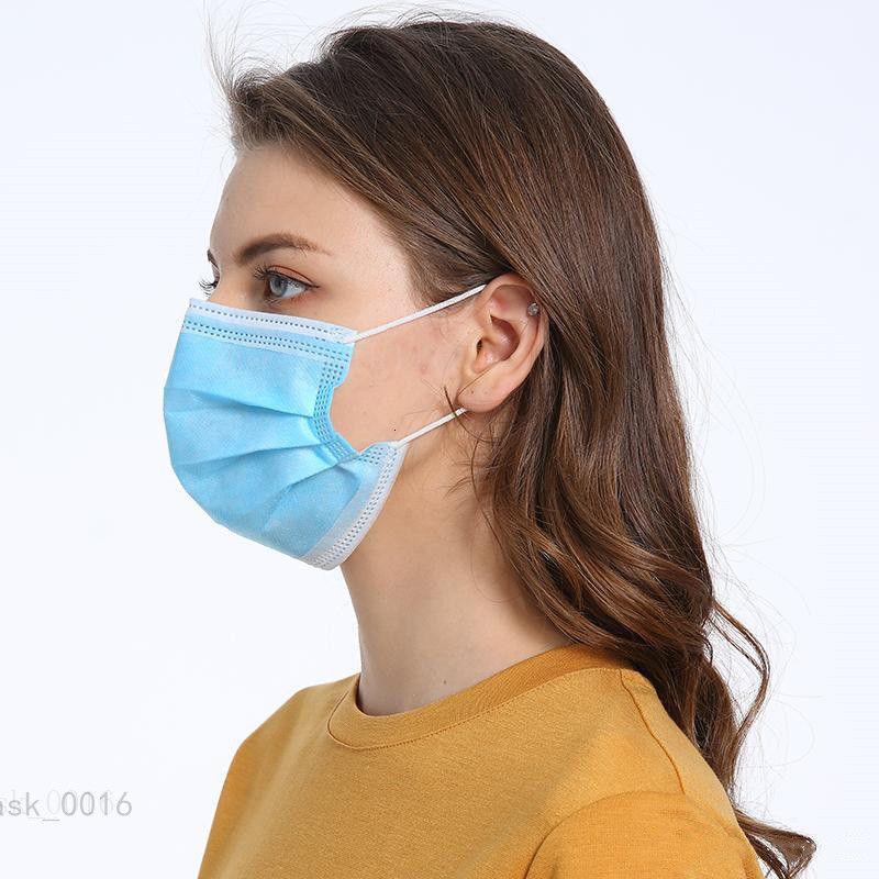 Máscara Desechable Mascherine 3 Azul Capa a prueba de polvo Boca PM2,5 Seguridad Cuidado de la cara elástico unisex 50/100 piezas Máscaras