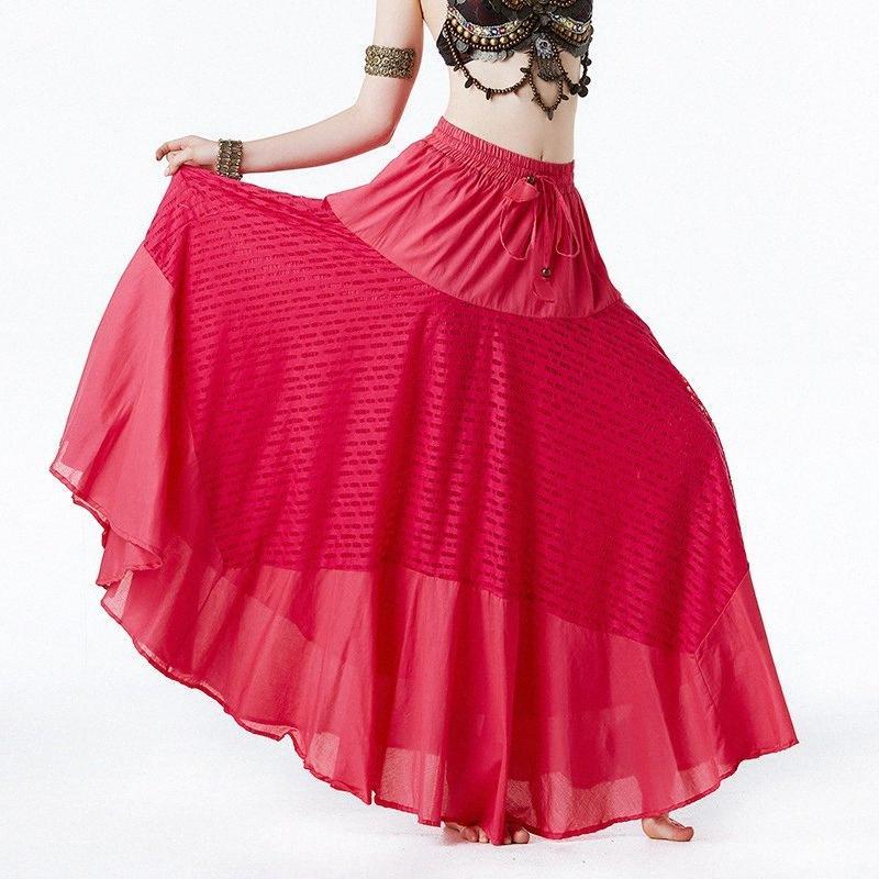 Nuovo tribale Gypsy Danza lungamente fiancheggia Belly Dance ATS Gypsy Skirt Abbigliamento Abito lungo donne Bellydance costumi 3 colori KnkP #