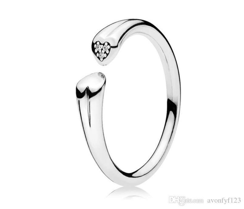 Стерлинговое серебро 925 стерлингового серебра Сердце Diamond Open Rings Набор Оригинальная коробка для сковородок Зерновые Женщины Мужчины Свадьба 18K Золотое кольцо W157