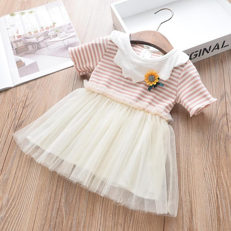 Toddler Infant Kids Summer Baby Girls Fly Sleeve Solid Bow Dress Clothes Dresses
