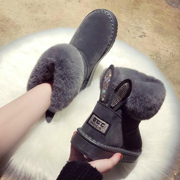 Kadınlar Çizme Marka Kış Ayakkabı Sıcak Siyah Yuvarlak Burun Casual Artı boyutu Kadın Kar Boots