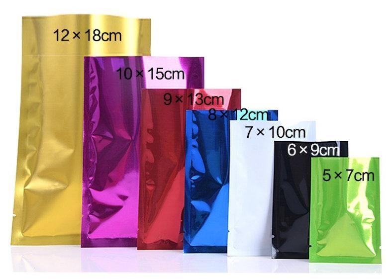 universal aluminum foil bag 8 color sizes aluminum plated flat bottom zipper Zip bag metal sealed bag tea food packaging custom printing