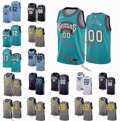Impresso personalizado MemphisGrizzliesJersey Homens Mulheres Criança Nome personalizado número 10 Bibby 12 Morant 11 Conley Basketball Jerseys Preto