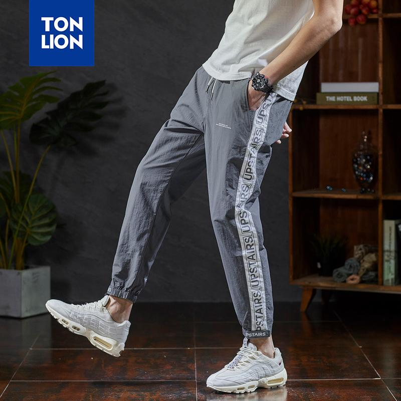 Erkekler Çizgili Ekleme Tam boy pantolon Erkek modası için TONLION Elastik Bel Pantolon Erkek Spor Hafif İlkbahar Yaz 2020 Yeni
