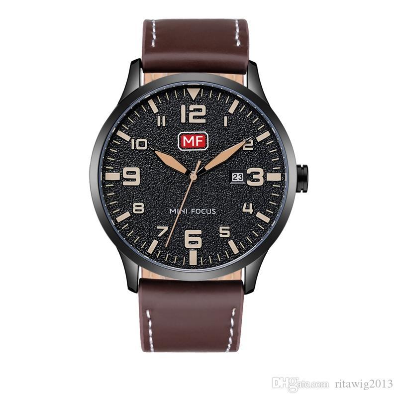 Grande sconto! Vita lunga 2019 Regali promozionali di alta qualità per gli uomini degli uomini guardano l'orologio dell'uomo del cuoio genuino di logo
