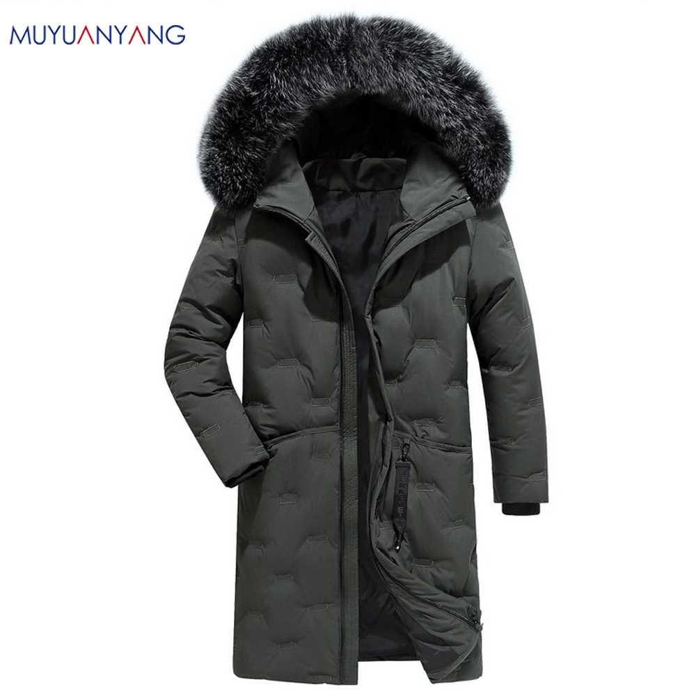 dos homens Inverno Parka com capuz Casaco Comprido Jacket luxo Overcoat 2019 New Mu Yuan Yang marca de moda masculina