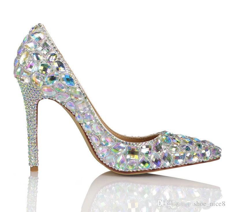 10CM zapatos de tacón alto de lujo de diseño de moda esteras de cristal coloridos vestidos de boda de diamante de aguja puntiaguda color tamaño 34-41