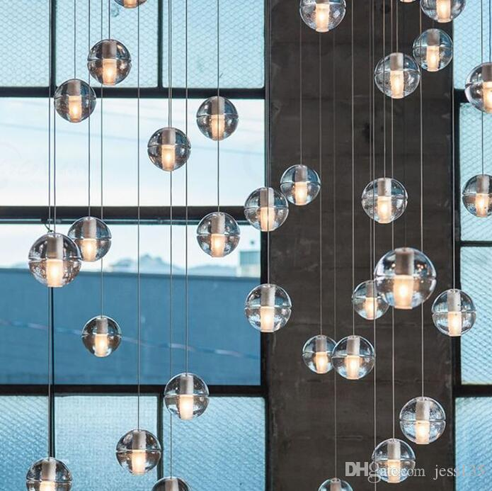 LED 크리스탈 유리 볼 펜던트 유성 비 등의 유성 샤워 계단 바 Droplight 천장 샹들리에 조명 AC110-240V
