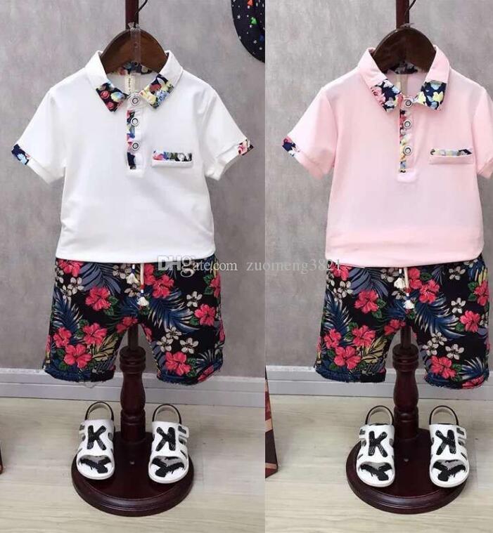 Abiti per bambini per ragazzi Set di abbigliamento estivo per bambini Top a maniche corte Stampa Camicie + Pantaloncini di fiori Abiti Bambini Clothin