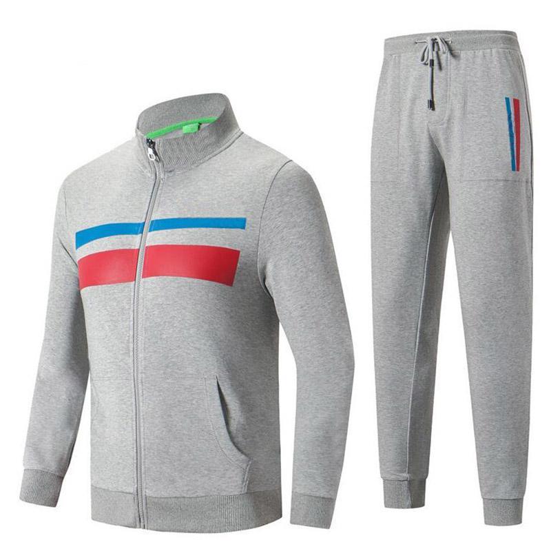 Men's Tracksuits Fashion Design Long Sleeve Men's Sports Jacket Zipper Sweater +Pants Set Man Casual Stripe Tracksuit