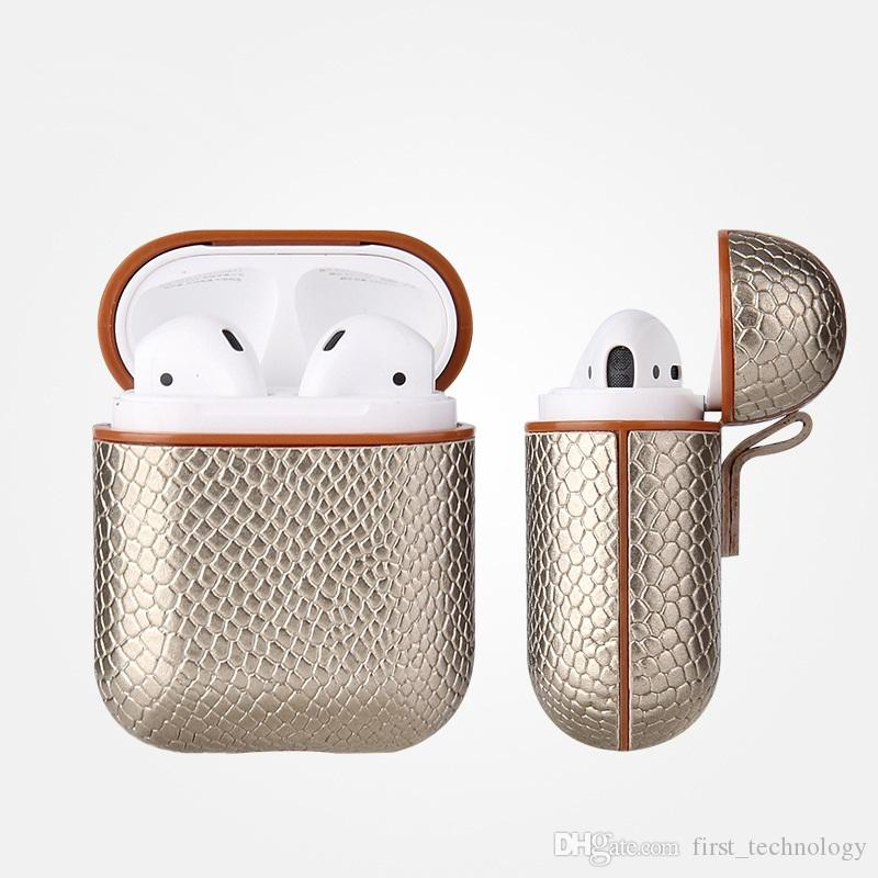 Lot* Sexy Snake Skin Bag Case For Apple AirPods Bluetooth Wireless Earphone Leather Case For Air Pods Funda Cover Charging Box Cases