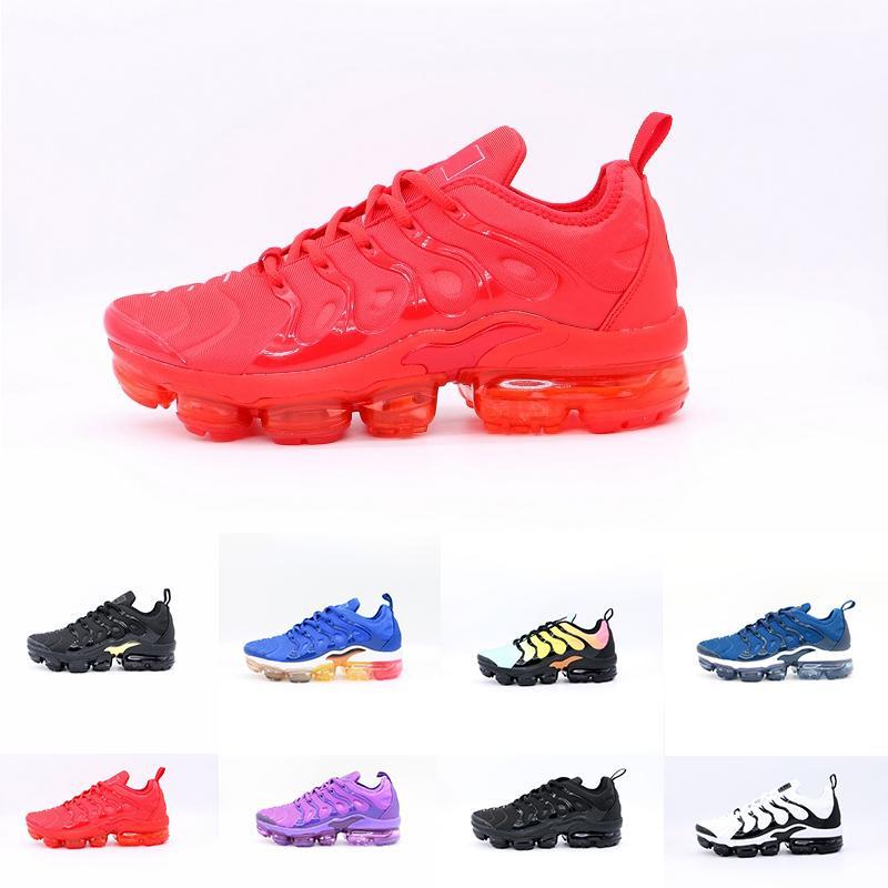 con la caja Tn más los zapatos Triple Negro Blanco Azul trasera roja Hombres Mujeres zapatillas de correr de calidad superior barato entrenador Cojín Tn Requin las zapatillas de deporte