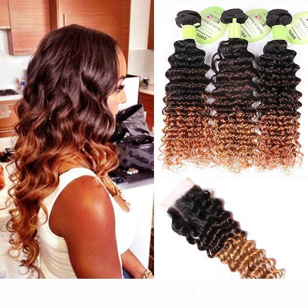 Deep Wave Human Hair Ombre Weave 3 Bundles With 4*4 Lace Closure 1B 4 27 Three Tone Dark Brown Honey Blonde Hair Extension