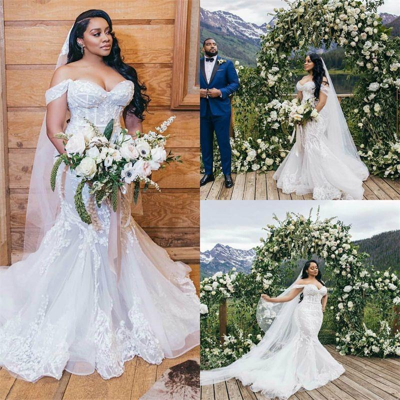2020 plus größe meerjungfrau Brautkleider außerhalb der schulter volle applizierte spitze wedding kleider keeces fewing train custom made vestidos de novia