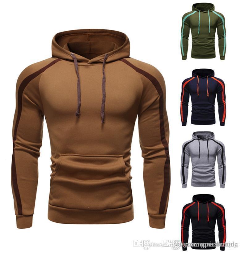 Designer Herrenkleidung Striped printd Winter-Herren mit Kapuze Sweatshirts Sport Pullover Schlank Kontrast Farbe Male Tops