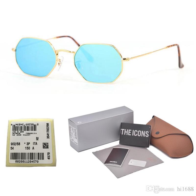 Nouvelle arrivée Polygon lunettes de soleil hommes femmes marque design Cadre en métal feminino masculi lentille en verre miroir oculos de sol avec Retail box et étiquette