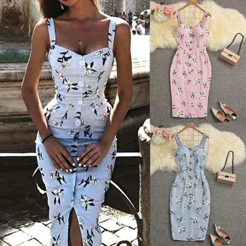 2020 Datum Blumendruck-Isolationsschlauch-Bügel-reizvolle Kleid-Frauen-Sommer-Sleeveless Kleider, figurbetontes Kleid Backless Verein-Kleid