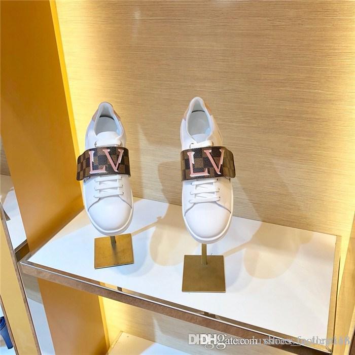 النساء Frontrow حذاء ابيض جلد العجل مع مجموعة واسعة الشريط، 2019 آخر المتضخم حذاء رياضة جلد شقة المدربين حجم 34-42
