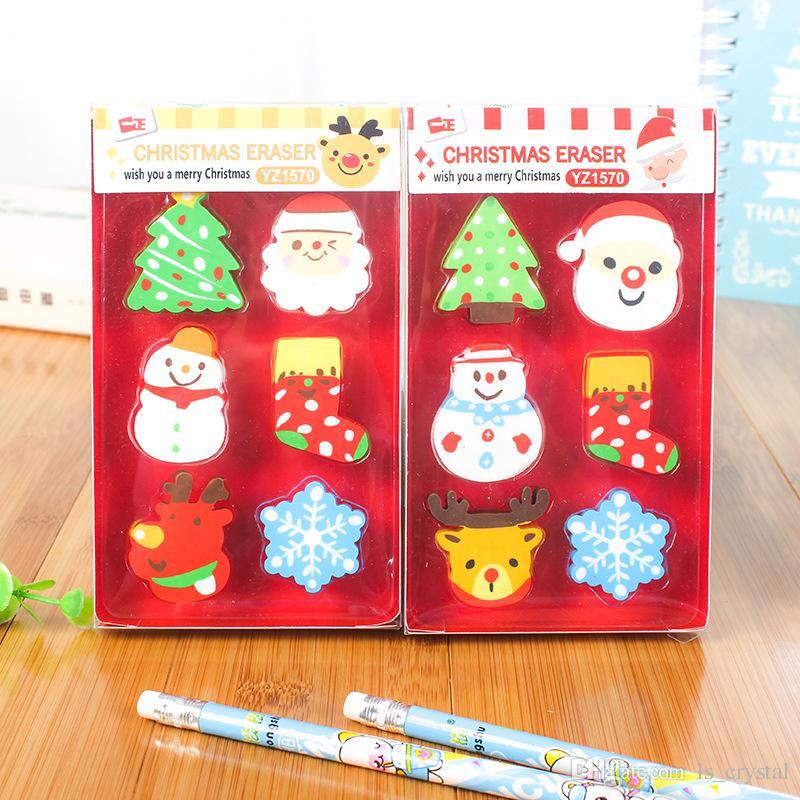 Novedad Navidad Borradores de lápices Borradores navideños Favores de la fiesta de Navidad Almacenaje Rellenos Niños Artesanía Escuela Premios Caja de regalo Paquete WJ045