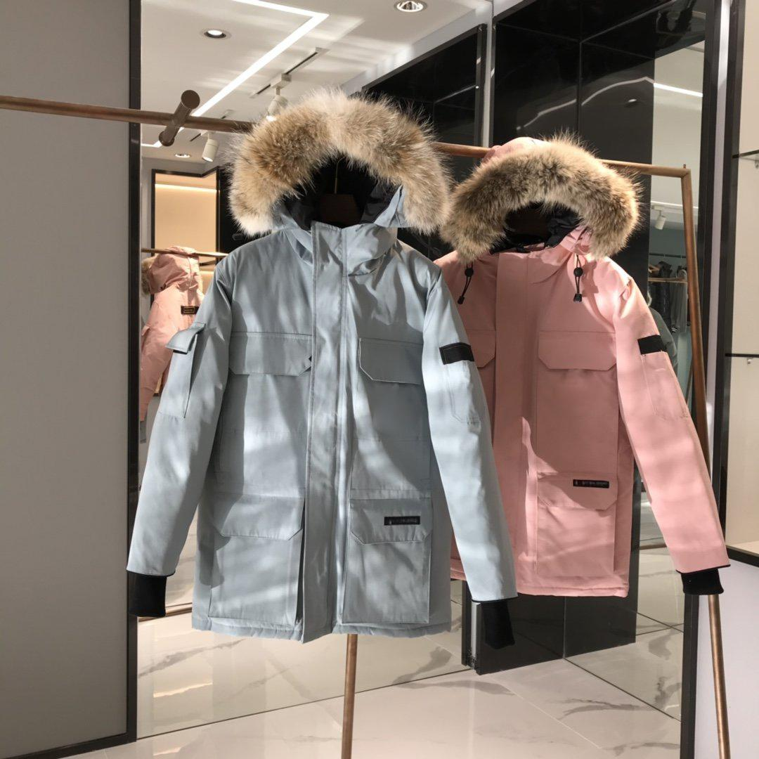 Top Quality Parker Wolf Hair G00SE Outdoor Long Down Piumino Exped1tion Solid Color Man Donne Coppia invernale caldo all'aperto parco cappotto