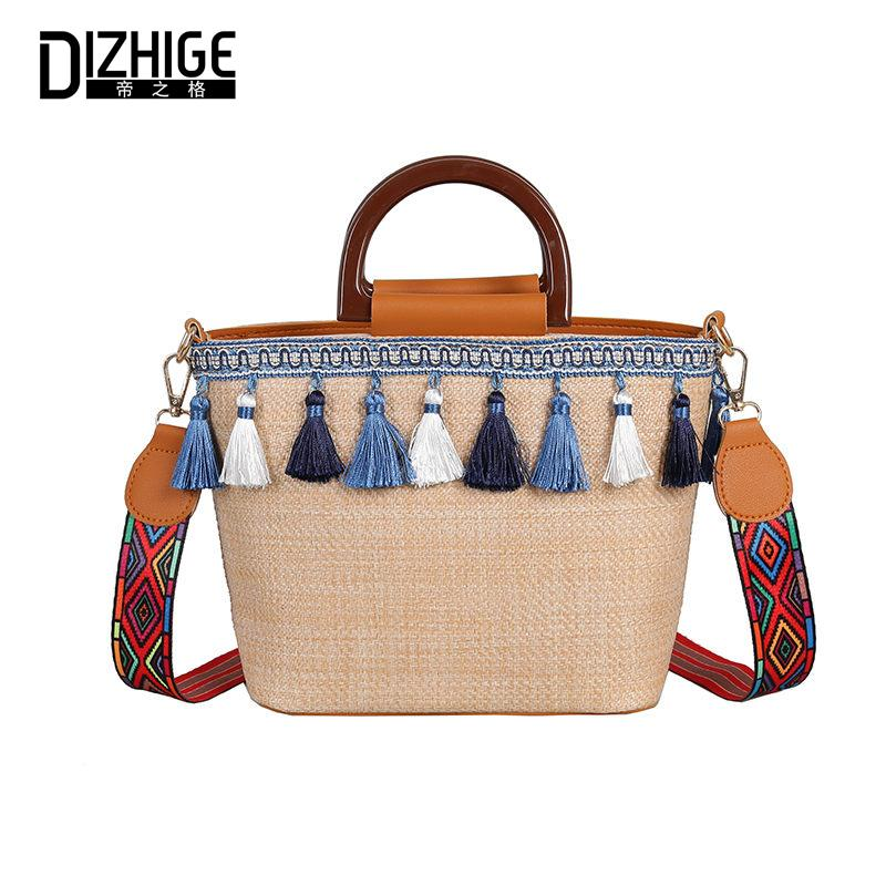 DIZHIGE  Fashion Straw Women Handbag High Quality Crossbody Bag For Women Large Capacity National Style Tassel Bag Tote New