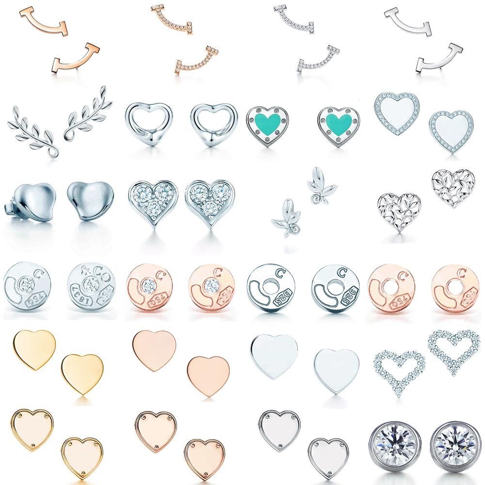 Nuovo 100% 925 Sterling Silver Blue Heart TIF Attraente Eleganza Temperament Orecchini World Fit Donne Gioielli originali moda gioielli