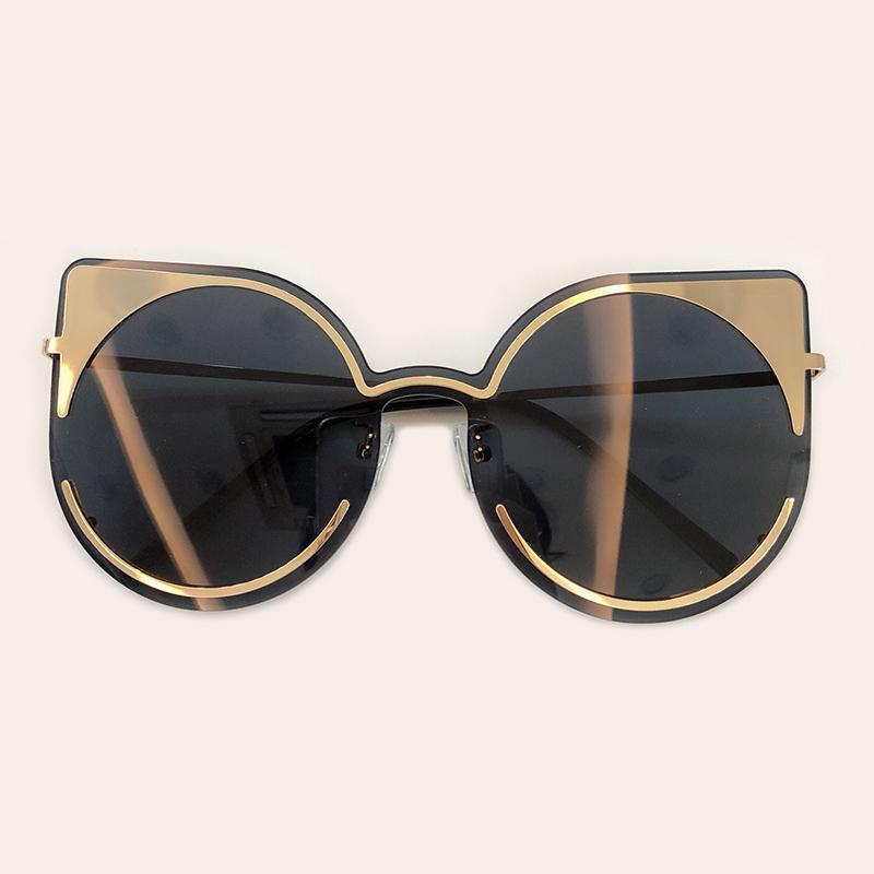 Luxury-2019 Weibliche Katzenauge Sonnenbrille Frauen Retro Designer Übergröße Sonnenbrille Hochwertige Designer Shades Damen Oculos LFL818