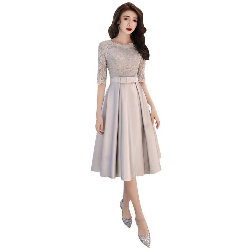 2020 neuer Frühling-koreanische Art-Abendkleid O-Ansatz halbe Hülsen-Silber-dünne Abschlussball-Partei-Kleid-Schärpen beugen Länge Haut Couture