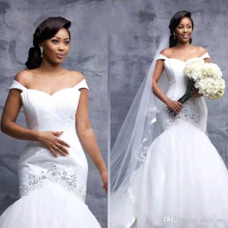 Südafrika Meerjungfrau Brautkleider Flügelärmel Pailletten Perlen aus der Schulter Plus Size Brautkleid Satin Tüll Brautkleid de mariée