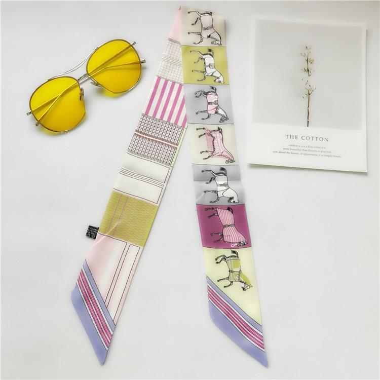 Moda Ipek Saç İpek Lady Yay Eşarp Moda Çantası Dekoratif Şerit Baskılı Eşarp 90 * 5 cm 365
