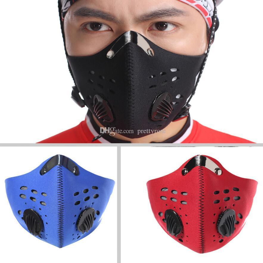 Anticontaminación de filtro de carbón activado PM 2.5 Máscaras de bicicletas Media cara Ciclismo Boca pasamontañas Correr máscara deportes al aire libre de la bicicleta de la cara 3 colores