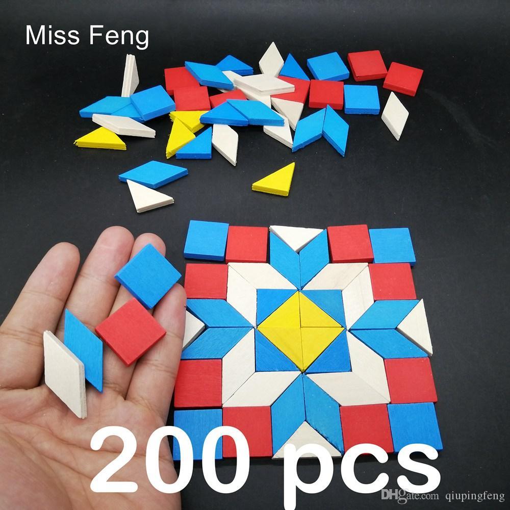 B372E200 / Kid Hediye 200 adet Mini Ahşap Bulmaca Jigsaw Tangram Oyunu Oyuncak Magination Ahşap Geometrik Şekil