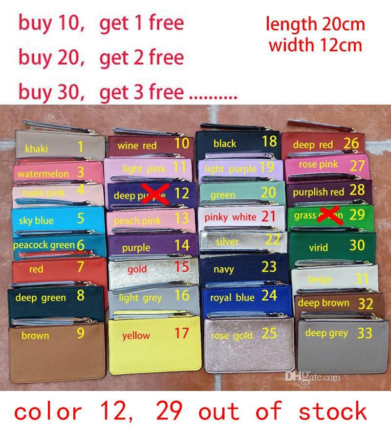 32 Farben Markenentwerfer der neuen PU-Handtaschen Mappen wristlet Frauen Geldbörsen Handtaschen Reißverschluss-Kartenbeutel