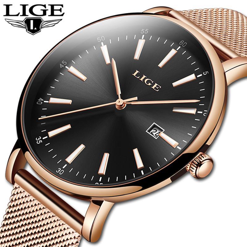 Echte LIGE Kreative Uhr-Frauen-Edelstahl-wasserdichte Uhr Super Slim Siebband Uhr Damen-Geschenk-Uhr Relogio Feminino SH190929