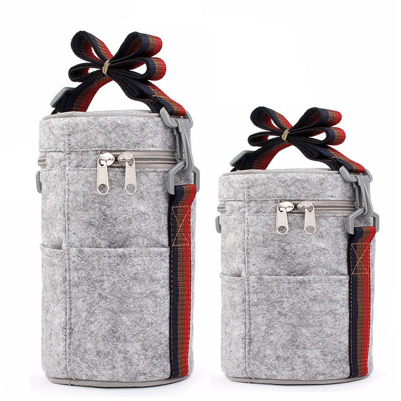 Rodada Almoço térmica Bag Box Tote com Tinfoil feltro Sólidos térmicas almoço sacos para as Mulheres Miúdos da escola Piquenique Camping