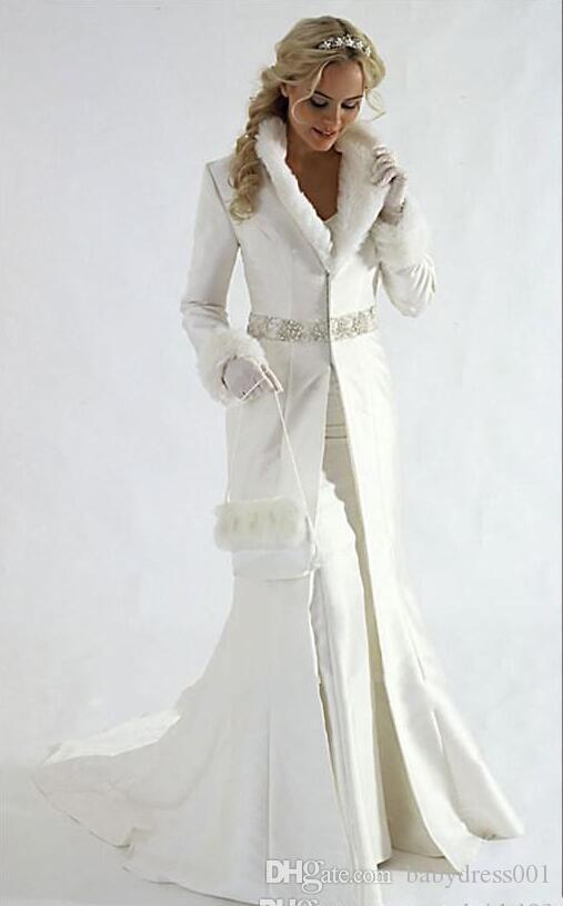 Generous Long Sleeves Bridal Coats Beaded Sequins Sash stain Formal Party Cloak long bride coats Faux Fur Warm bridal Bolero Jacket