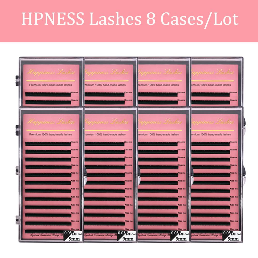 8 Cases/Lot Eyelash Extension Eye Lashes Super Soft Silk Mink Lashes Classic Lashes Deep Matte 100% Hand Made HPNESS