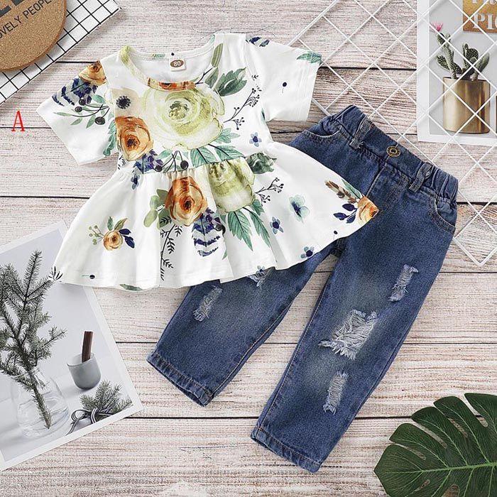 3 colores Baby Girl Summer Ropa Sets O-cuello de manga corta Flower Flower Flow Thirt + Denim Pant Summer Girl Girl Set