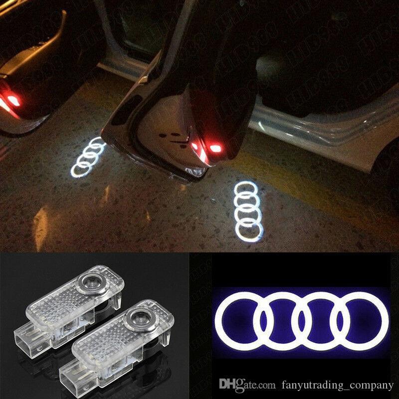 2pcs voiture porte LED Logo lumière laser Projecteur Lumières Fantôme Ombre Bienvenue Lampe Pour Audi Pour Volkswagen pour Skoda