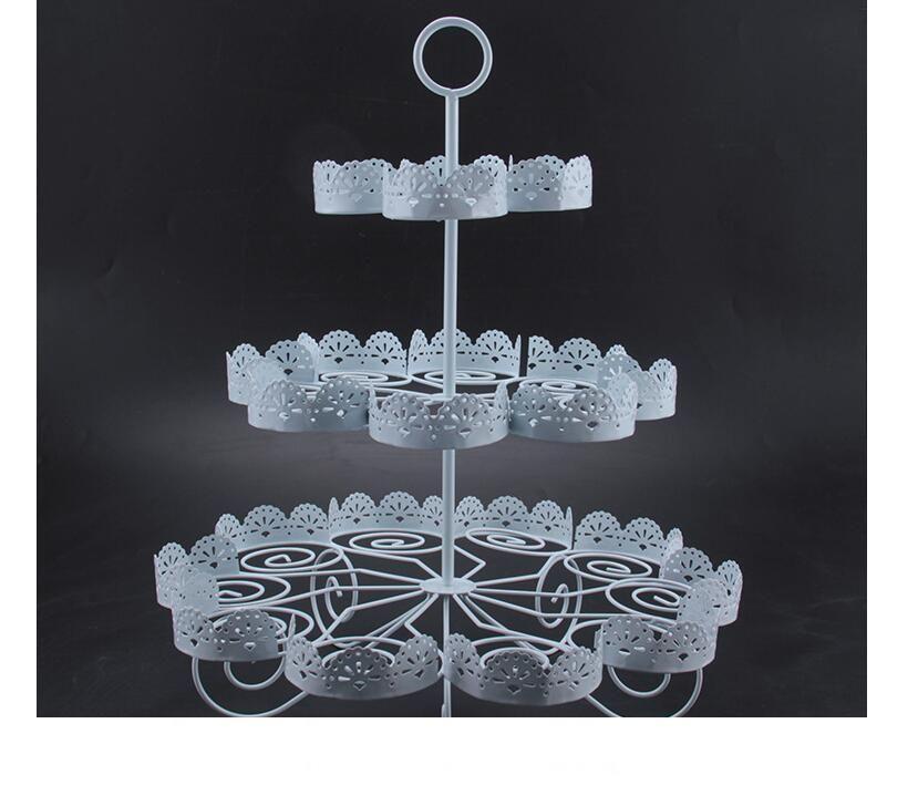 كب كيك حامل مناسبات الزفاف الحلوى العرض 3 تيير الدانتيل الأبيض كعكة الحديد حامل يمكن أن تعقد 22 كعك