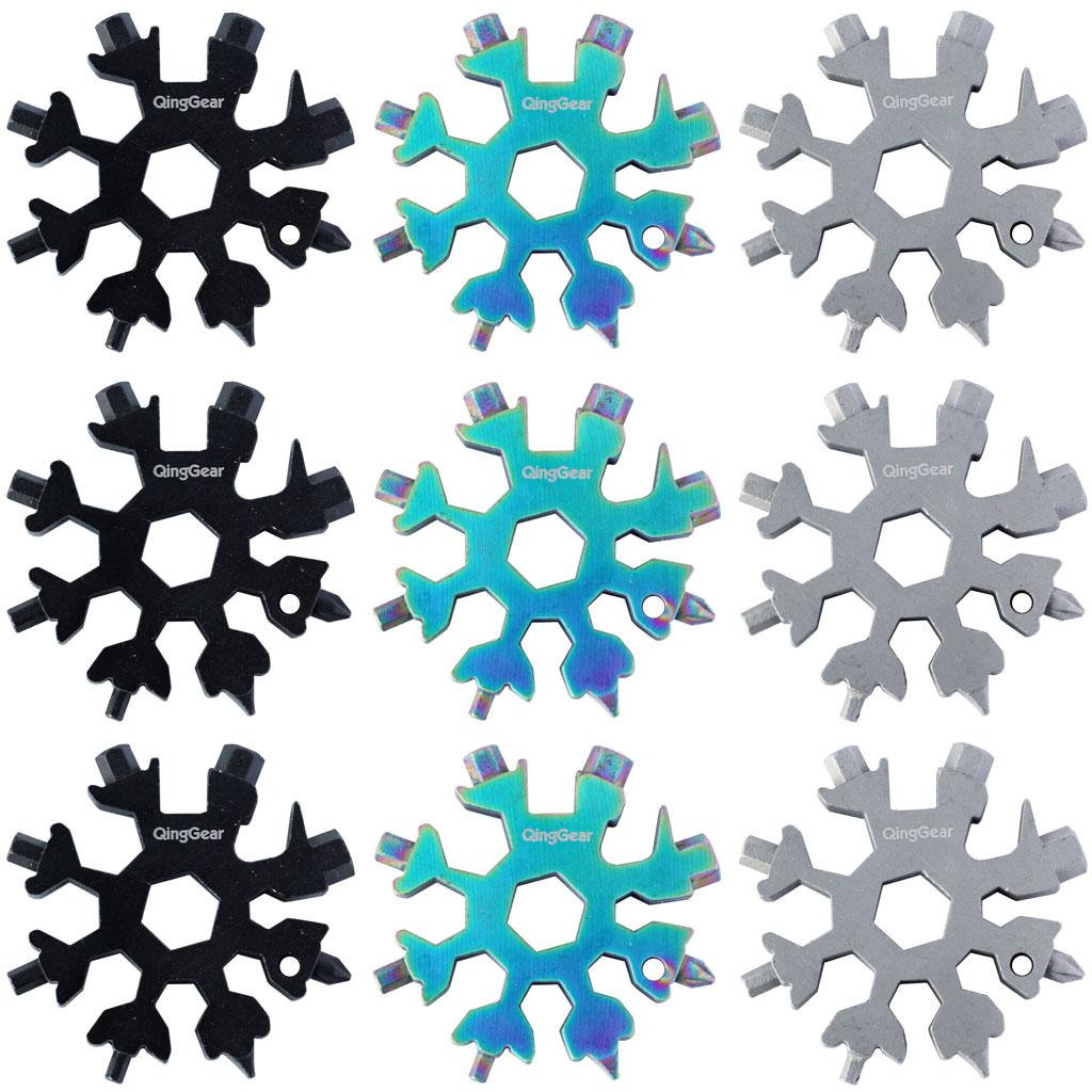 9PCS / LOT QingGear 19 en 1 forme de flocon de neige Clé multi-outil Carte portable plat tournevis cruciforme extérieur compact outil