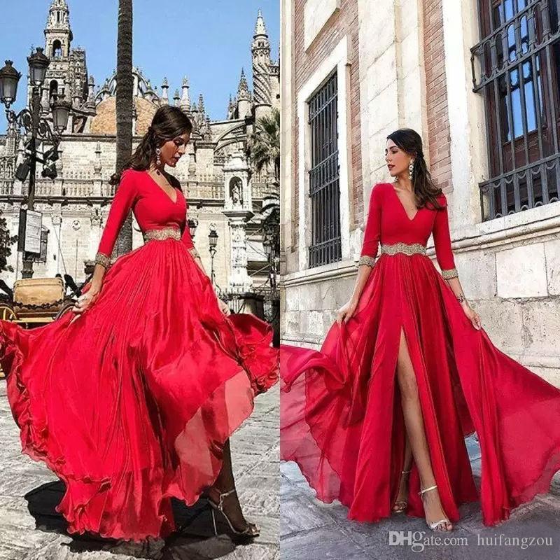 라인 시폰 댄스 파티 드레스 레드 3/4 긴 소매 사이드 길이 미장원 이브닝 드레스와 사이드 미인 드레스 여성 정장
