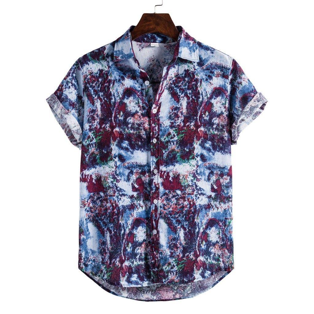 Hawaiian Beach Shirts Mens Casual Streetwear 2020 Summer Hawaii Holiday Shirts Streetwear Short Sleeve Chemise 4.16 T200602