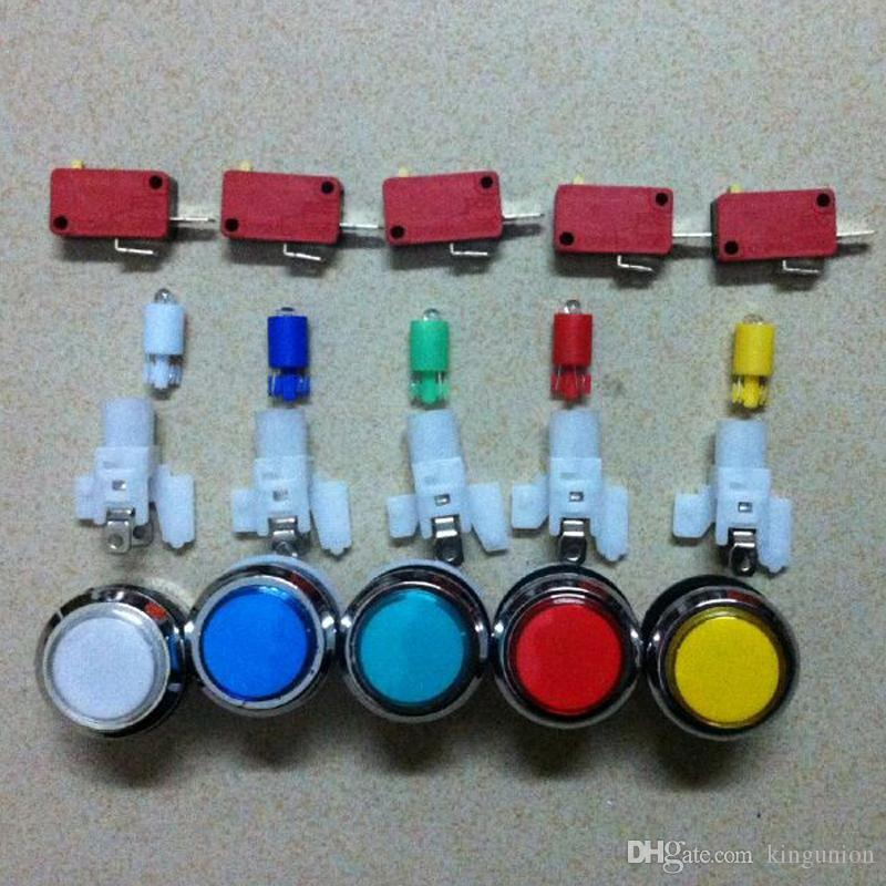 White Long Length Illuminated chrome ring Arcade Game Push Button w// microswitch